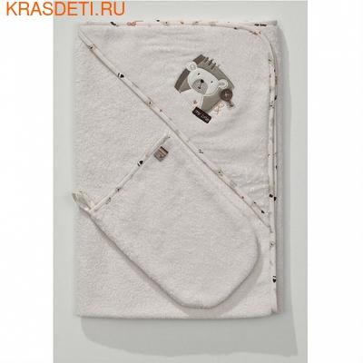 Полотенце-уголок Funnababy 90x90 см + варежка (фото, вид 2)