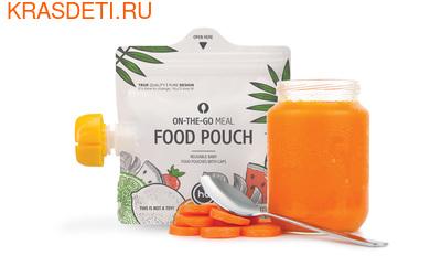 Happy Baby FOOD POUCH пакеты для хранения детского питания 3 шт. с ложкой–накруткой от 6 мес. (фото, вид 1)