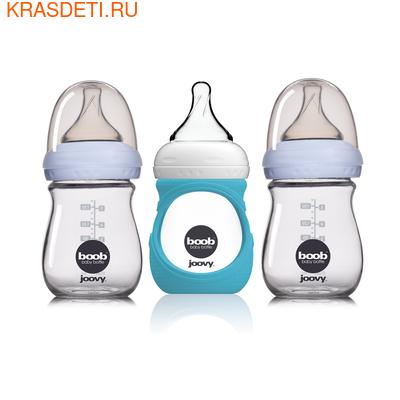 Joovy Набор стеклянных бутылочек с силиконовым чехлом Boob Baby 150мл бирюзовый (фото)