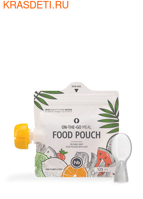 Happy Baby FOOD POUCH пакеты для хранения детского питания 3 шт. с ложкой–накруткой от 6 мес. (фото)