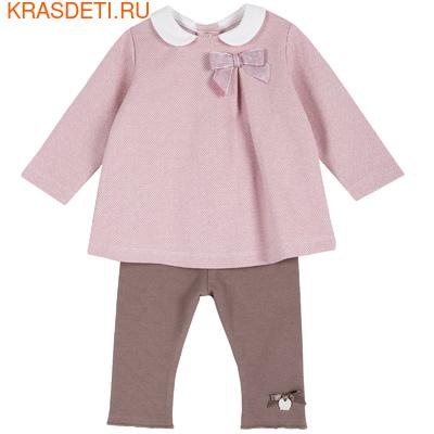 Комплект (кофта+брючки) Chicco для девочек, размер 080, цвет тёмно-бежевый